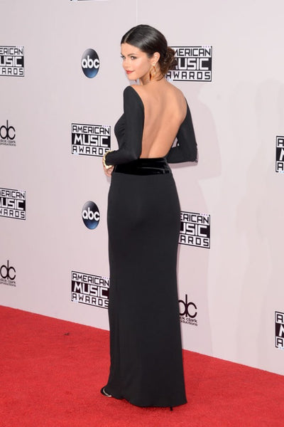 Selena Gomez Black Dress Boat Neck Mermaid Nude Backless Long Sleeves Prom Ball Gown AMA Red Carpet