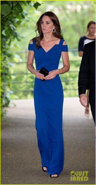Kate Middleton Blue Dress Long Prom Ball Gown V Neck Celebrity A Line Dress SportsAid Anniversary