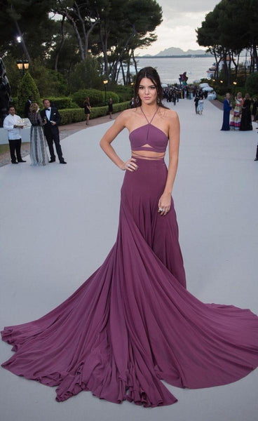 Kendall Jenner Purple Dress Straps Criss Cross Back Prom Ball Gown Celebrity Dress AmfAR Cannes