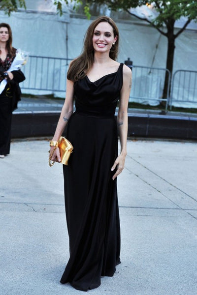 Angelina Jolie Black Satin Dress Toronto Film Festival Moneyball Premiere Red Carpet Long Classic Prom