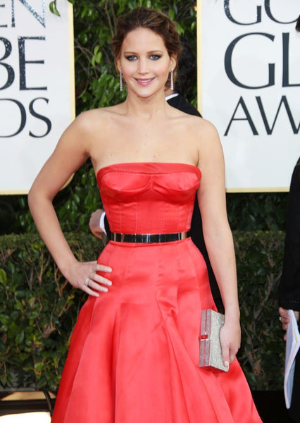 Jennifer Lawrence Strapless Dress Satin Metal Belt Ball Gown Red Carpet Golden Globe Awards Formal Prom Dress