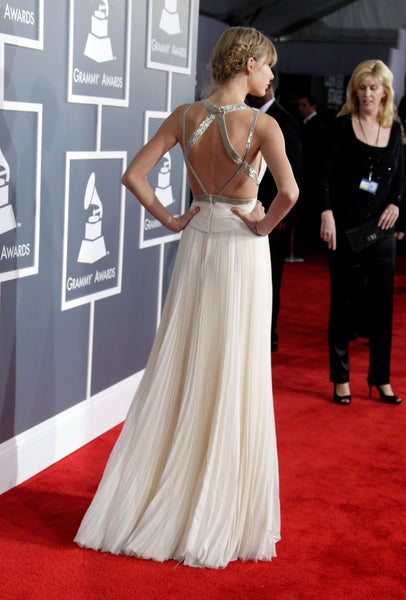 Taylor Swift White Dress Halter Criss Cross Back Prom Celebrity Evening Dress Grammys