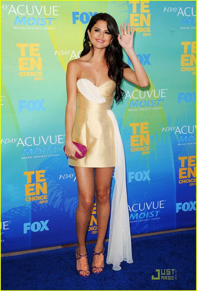 Selena Gomez Strapless Dress Patchwork Champagne Short Prom Ball Gown Celebrity Cocktail Dress Teen Choice Awards