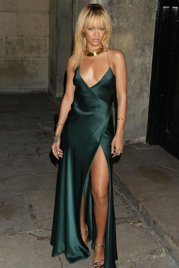 Rihanna Stain Dress Green Spaghetti Straps Open Back Ball Gown Prom Stella McCartney party Celebrity Evening Dress