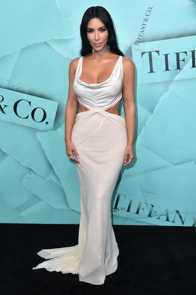 Kim Kardashian White Dress Scoop Neck Open Back Prom Celebrity Dress Tiffany Blue Book Collection Ball Gown