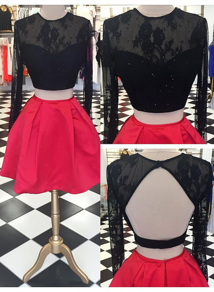 Black Red Two Piece Homecoming Dress for Homecoming