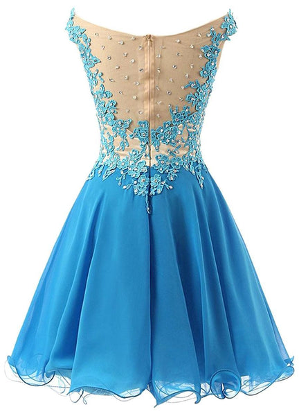 Elegant Lace Blue Homecoming Dress Off Shoulder Style