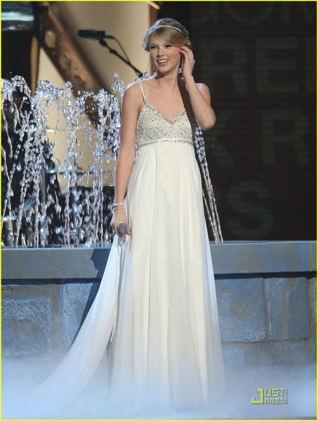 Taylor Swift Straps Dress White Open Back Sequins Pastel Prom Celebrity Dress CMA Awards