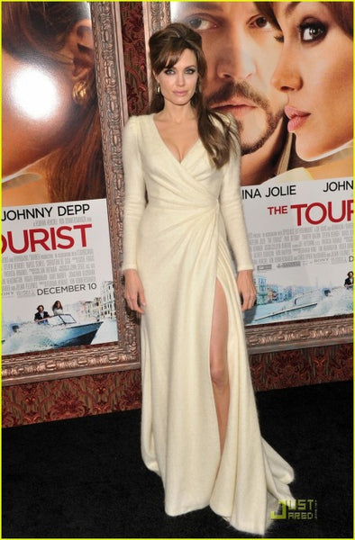 Angelina Jolie Slit Dress Long Sleeve Fit The Tourist Premiere Red Carpet Ivory Gowns