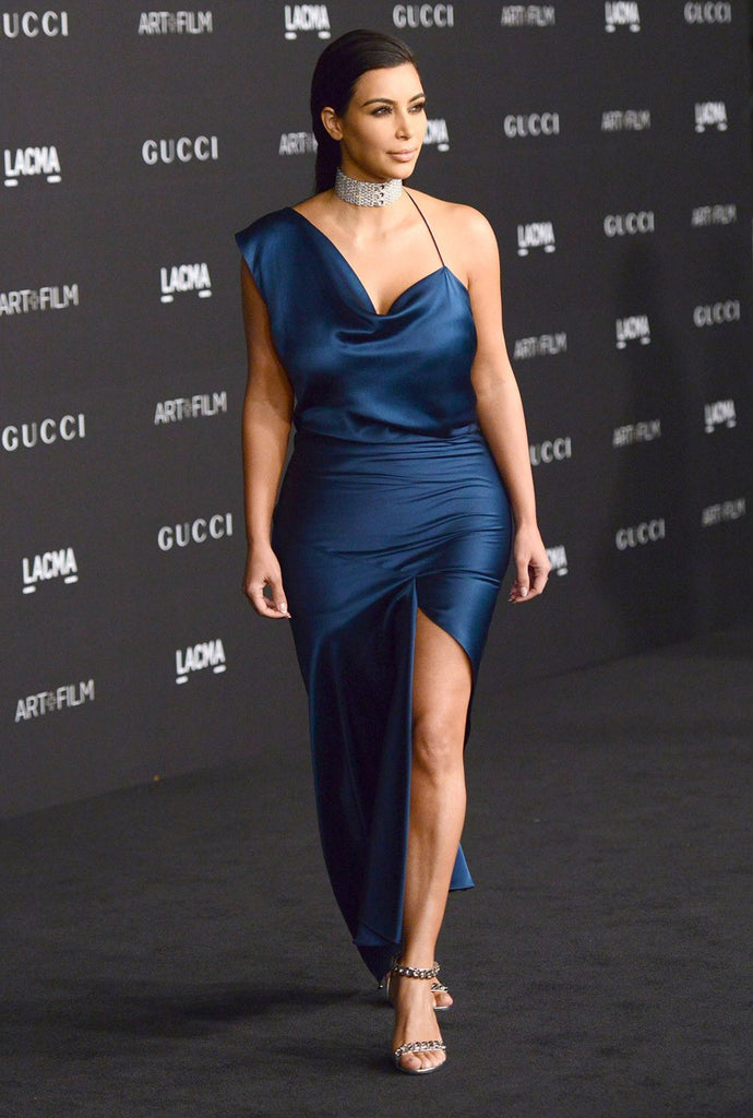 Kim Kardashian Blue Dress Satin One Shoulder Strap Choker Neck Prom Celebrity Dress LACMA Art+Film Gala Ball Gown