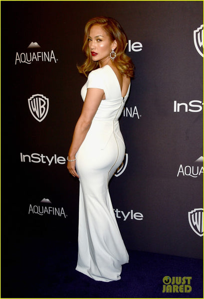Jennifer Lopez (J.Lo) White Dress Cap Sleeves Figure-hugging Slit Prom Gown Celebrity Dress Golden Globes After Party