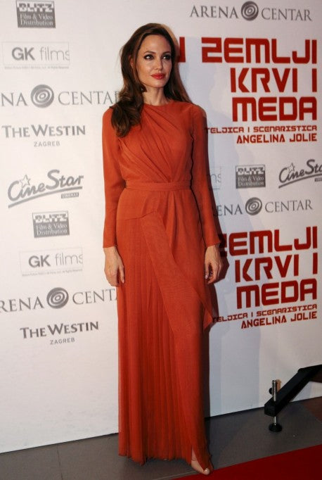 Angelina Jolie Long Sleeve Dress Red Round Neck Gowns Red Carpet Tonight Premiere Evening Cocktail Dresses