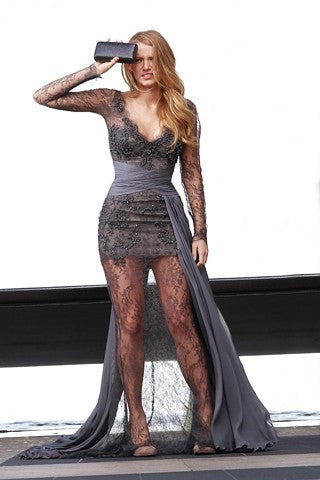 Blake Lively Grey Dress Lace Long Sleeves Wrap Prom Gown Red Carpet Serena Van Der Woodsen Gossip Girl