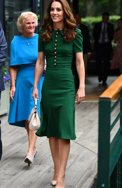 Kate Middleton Green Dress Satin Figure-hugging Knee Length Prom Ball Gown Wimbledon Celebrity Dress