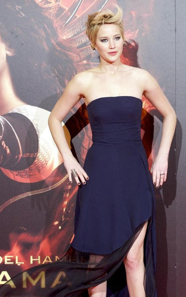 Jennifer Lawrence Slit Dress Dark Navy Patchwork Prom The Hunger Games Spanish Premiere Celebrity Formal Gown