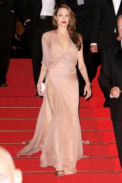 Angelina Jolie One Shoulder Dress High Slit Light Pink Sexy Sleek Ball Gowns Cannes Red Carpet Dress