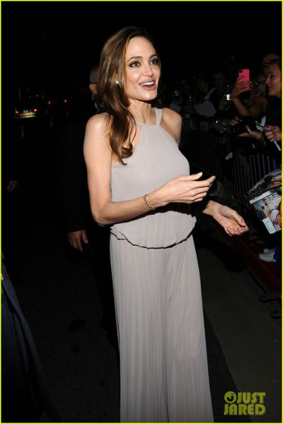 Angelina Jolie Halter Pleated Dress Open Back Palm Springs International Film Festival Celebrity Grey Ball Gowns