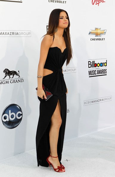 Selena Gomez Black Dress Halter Straps Cut Out Knot Slit Prom Gown Billboard Music Awards Party Dress