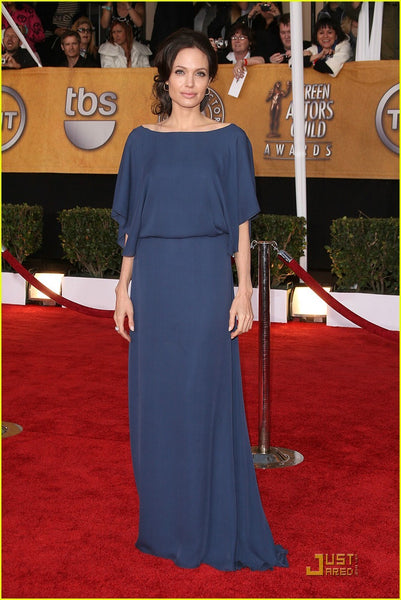 Angelina Jolie Half Sleeves Dress Scoop Neck Celebrity Navy Blue Dress SAG Awards Red Carpet