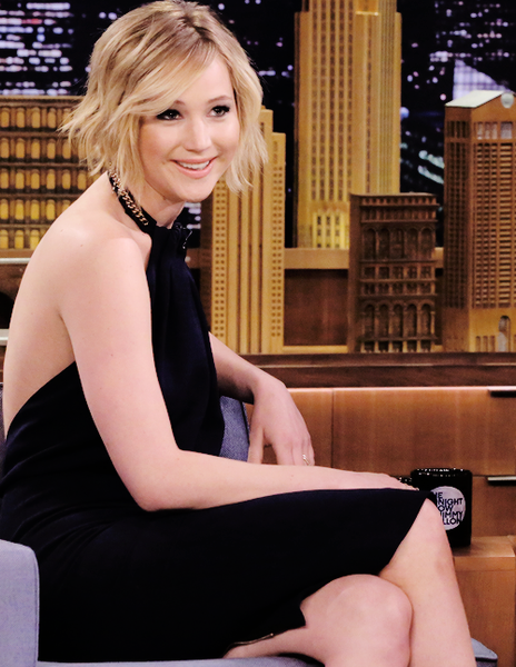 Jennifer Lawrence Halter Dress Black Nude Backless Celebrity Ball Gown on Jimmy Fallon Cocktail Dresses