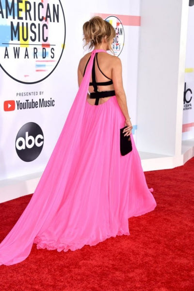 Jennifer Lopez Pink Dress Halter Open Back Prom Celebrity Formal Dress AMA Red Carpet