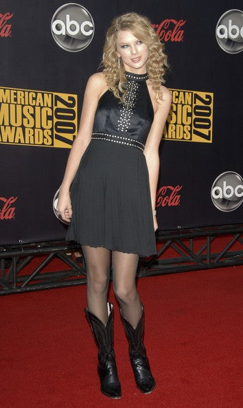 Taylor Swift Black Dress High Neck Sequins Sleevless Prom Celebrity Evening Dress American Music Awards Red Carpet