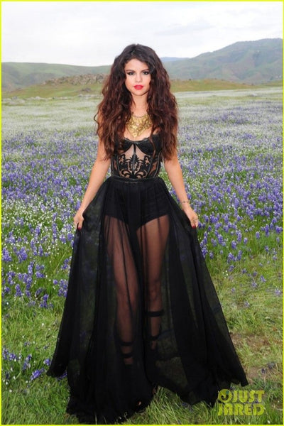 Selena Gomez Black Dress Bustier See-through Prom Gown Celebrity Evening Dress Come & Get It