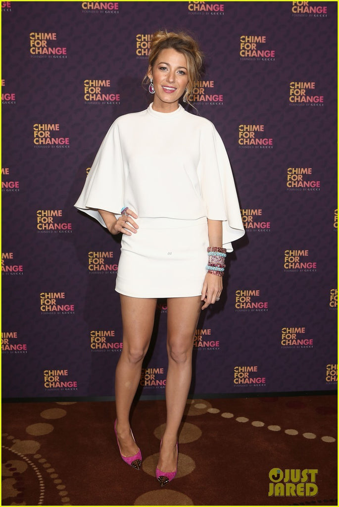 Blake Lively Cloak Dress White Round Neck  Celebrity Dress Chime For Change Short Ball Gown