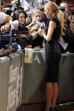 Blake Lively Black Dress Knee Length Prom Classic Celebrity Dress The Town Boston Premiere Red Carpet