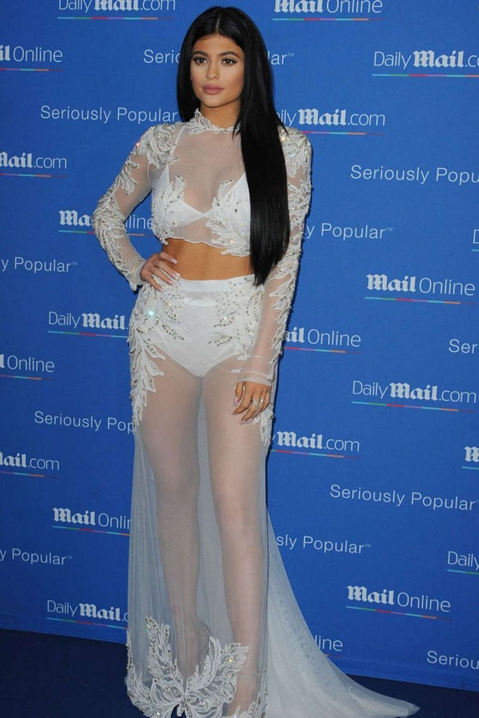 Kylie Jenner Two piece Dress Applique Long Sleeves Tulle Dress DailyMail Yacht Party Cannes Red Carpet