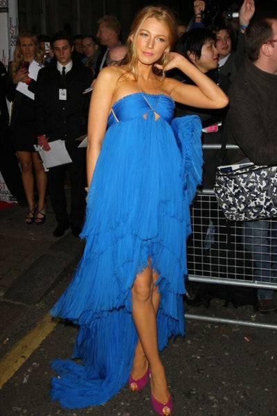 Blake Lively Blue Dress Keyhole Tiered Ruched High Low Spaghetti Straps Prom Ball Gown Elle Style Awards Red Carpet