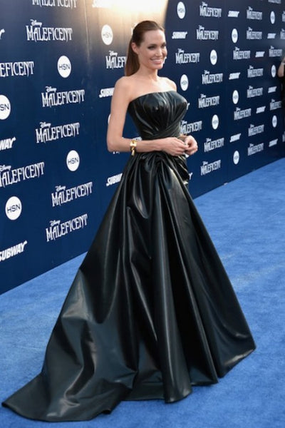 Angelina Jolie Leg Dress Black Leather Strapless Prom Ball Gown Red Carpet Celebrity Dress Maleficent Premiere