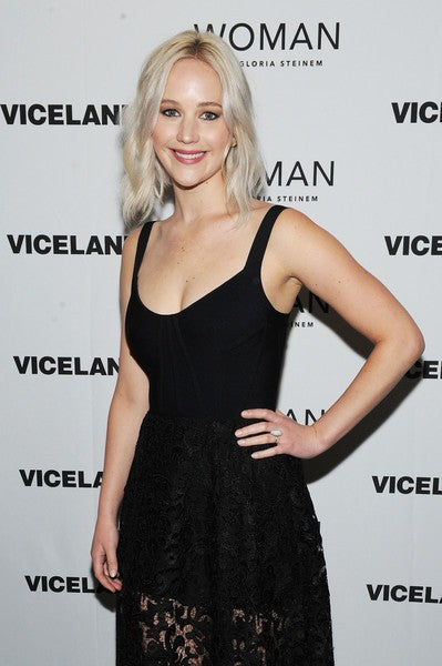 Jennifer Lawrence Black Dress Round Neck Lace Pastel Gown VICELAND New York Premiere Celebrity Evening Dress