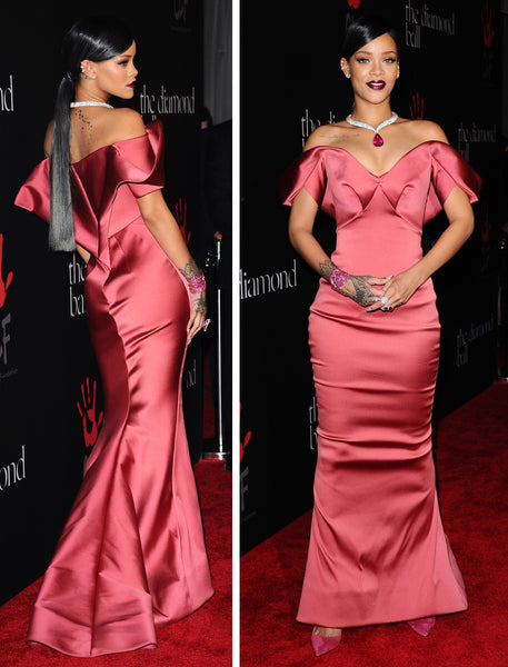 Rihanna Satin Dress Rose Red Mermaid Off The Shoulder Gown Diamond Ball Celebrity Red Carpet Dress