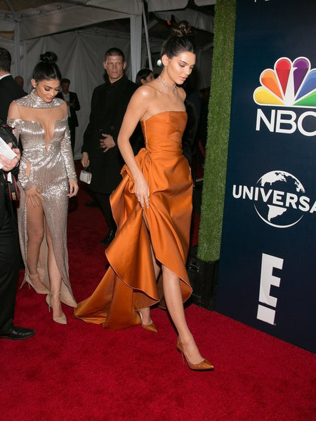 Kendall Jenner Orange Dress Strapless High Slit Prom Ball Gown  Celebrity Dress Golden Globes After Parties Red Carpet