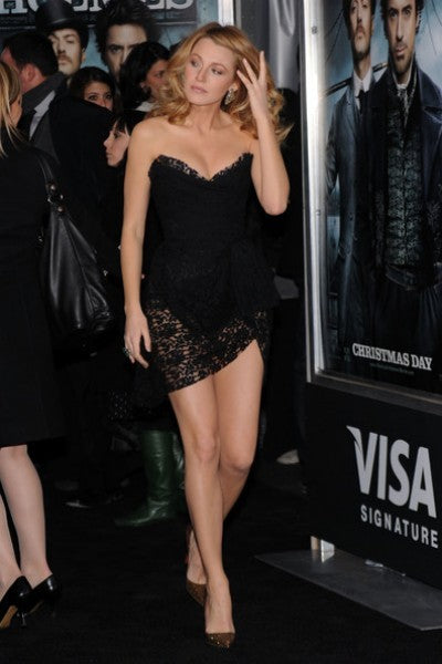 Blake Lively Black Short Dress Strapless Lace Prom Gown Celebrity Dress Sherlock Holmes Premiere Red Carpet