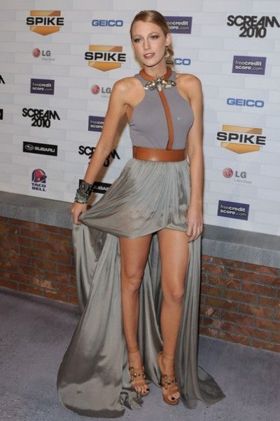 Blake Lively Grey Dress Round Neck Sleeveless Slit Open Back Prom Spike TV's Scream Celebrity Dress