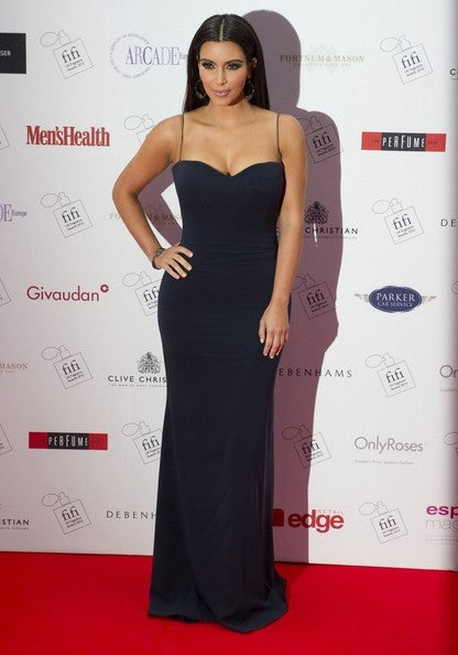 Kim Kardashian Navy Dress Straps Bodycon Prom Celebrity Dress FiFi UK Fragrance Awards Red Carpet