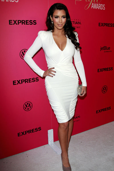 Kim Kardashian White Dress Figure-hugging Long Sleeve Prom Gown Hollywood Style Awards Celebrity Dress