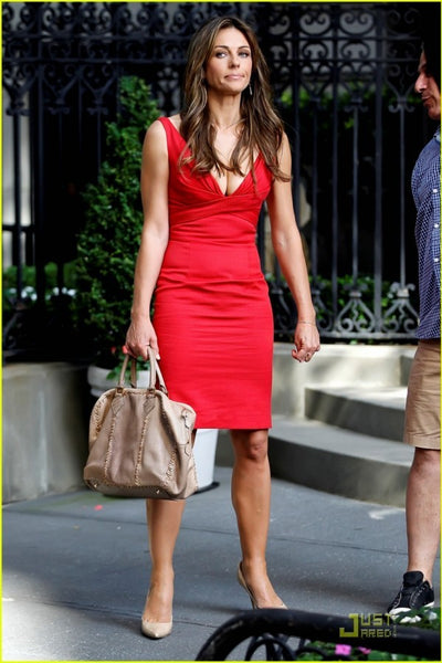 Elizabeth Hurley Satin Dress Red V Red Sheath Prom Celebrity Dress Diana Paynes in Gossip Girl