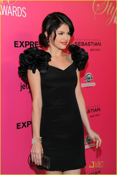 Selena Gomez Black Dress Figure-hugging Prom Ball Gown Celebrity Dress Hollywood Style Awards