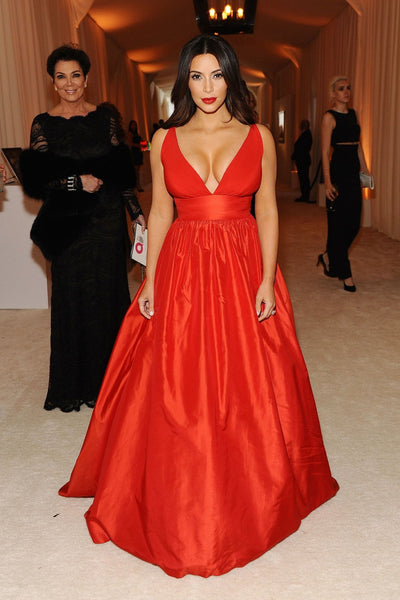 Kim Kardashian Red Satin Dress V Neck Prom Celebrity Ball Gown Oscars Party Dress