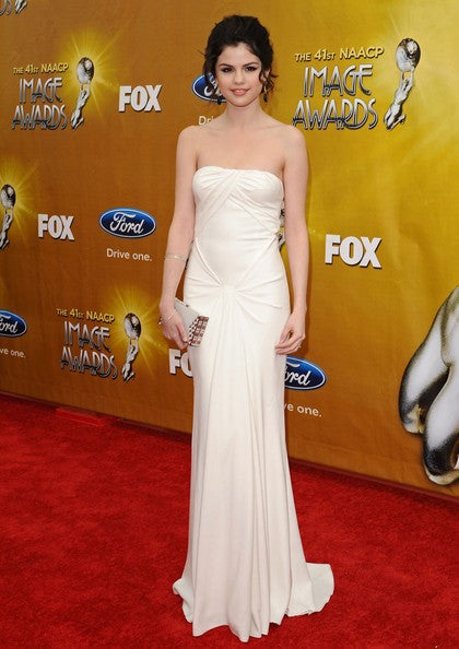 Selena Gomez Strapless Dress White Knot Sleek Prom Red Carpet Formal Dress NAACP Image Awards