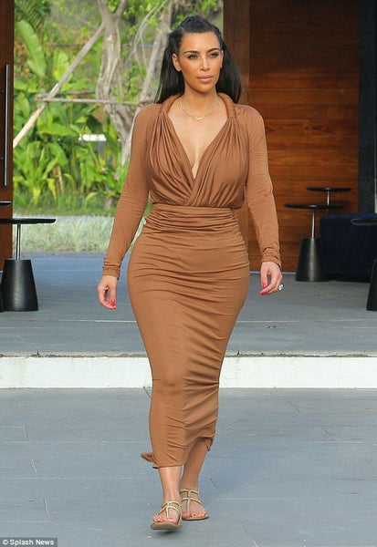Kim Kardashian Brown Dress Two Piece Figure-hugging V Neck Prom Celebrity Ball Gown Party Dress