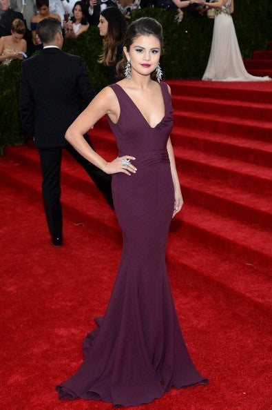 Selena Gomez Figure-hugging Dress Purple Mermaid Open Back Prom Gown Celebrity Dress Met Gala Red Carpet