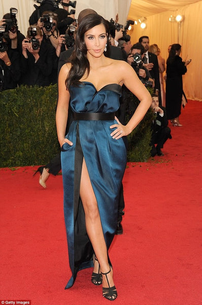 Kim Kardashian Strapless Dress Blue Satin High Slit Prom Celebrity Dress Met Gala Red Carpet