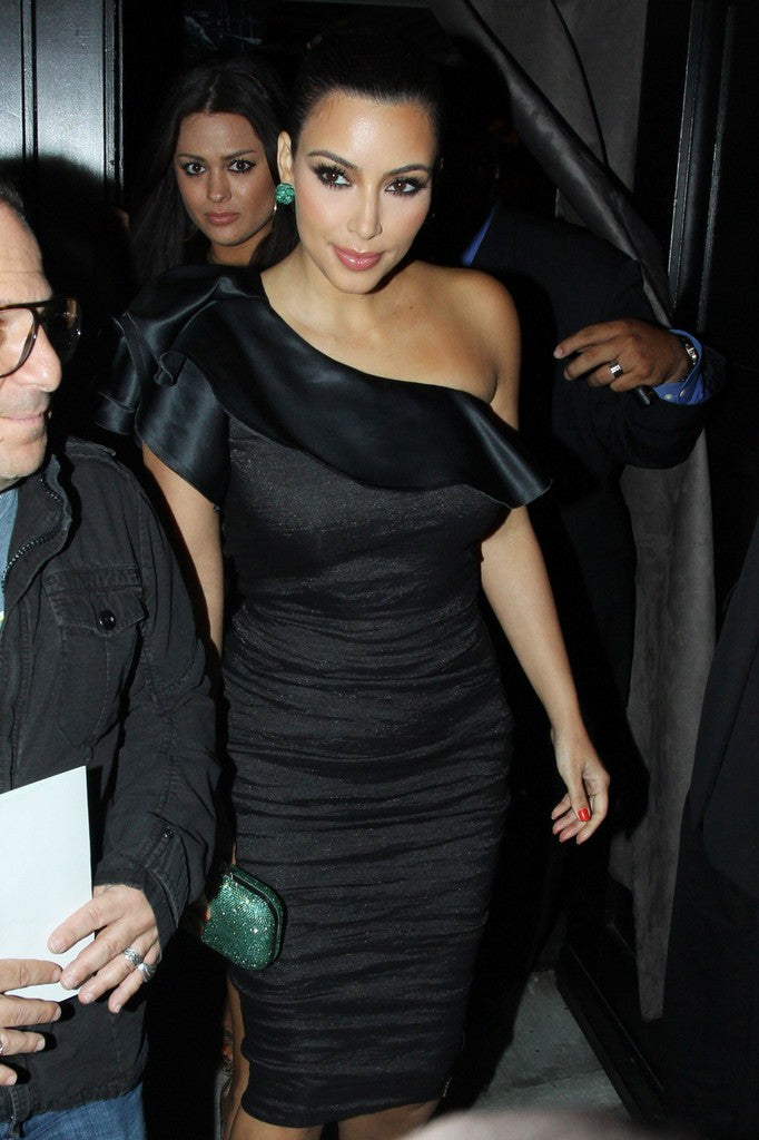 Kim Kardashian Black Dress One Shoulder Sheath Prom Celebrity Dress Event for Midori Beverage