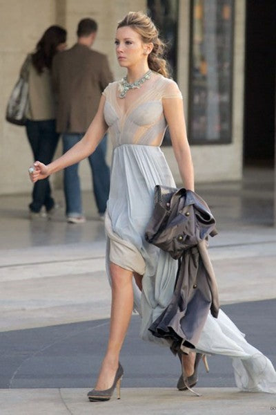 Katie Cassidy Chiffon Dress Grey Cap Sleeves V Neck prom Ball Gown Gossip Girl Juliet Sharp Celebrity Dress