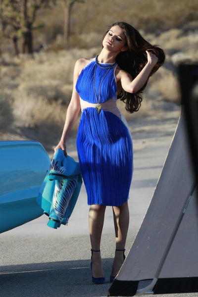 Selena Gomez Patchwork Dress Sleeveless Round Neck Prom Ball Gown Music Video Shoot Party Dress