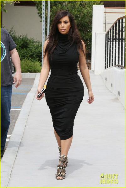 Kim Kardashian Tight Dress Black Sleeveless Prom Celebrity Evening Cocktail Dresses